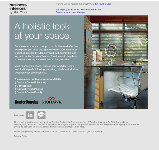 Suite Of Emails For Business Interiors By Staples